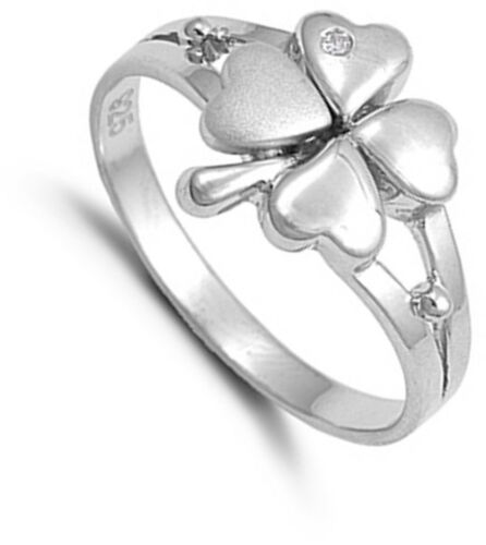 Sterling Silver Woman/'s Lucky 4 Leaf Clover Ring Beautiful 925 Band Sizes 4-10
