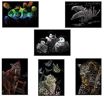 PICK FROM 6 NEW ANIMAL PICTURES ENGRAVING ART A5 SCRAPER FOIL CRAFT KITS /& TOOL