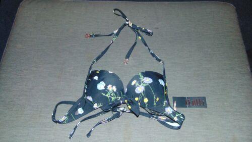 Faith Halter Bikini Top Floral /'Meadow/' Print U//W Padded Push Up 6 Black MixBNWT