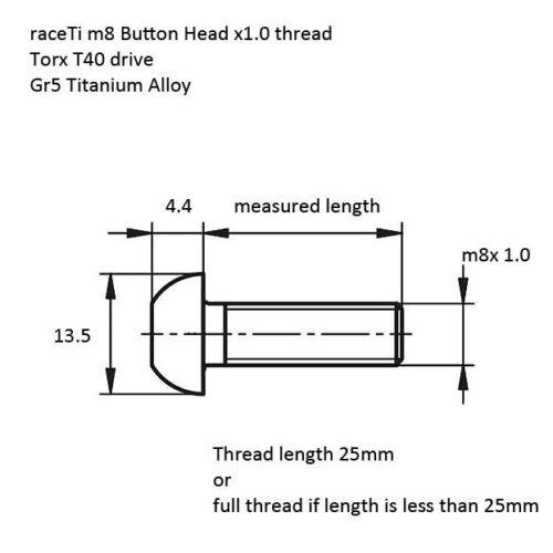 M8 20mm Titan Linsenkopf Low Profile Torx Ti 7380 Schraube gr5 20 X 1.0
