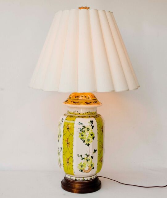 Ceramic Ginger Jar Table Lamp Hand Painted Made In Italy Vintage