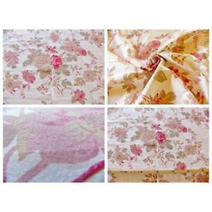 Coupon-fabric-by-50cm-pink-flower-manon-ivory-background