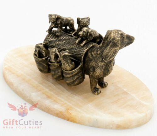 Bronze Figurine of Dachshund dog with her puppies in the back-bag on Onyx stone