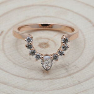 8a7341da5204e Details about 14K Rose Gold Band Salt And Pepper Pear Diamond Ring  Engagement Gift Ring KD259