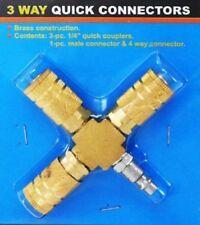 3 Way Air Hose Manifold Quick Coupler Connector Brass Fitting Adapter Splitter