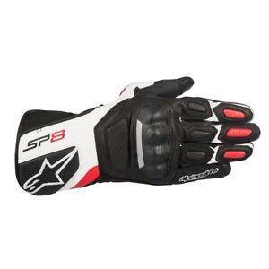 Alpinestars SP-8 SP8 Mens Leather Motorcycle Motorbike Gloves Black White Red