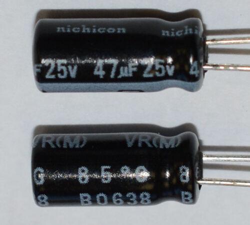 200x Nichicon UVR1E470MDD 25V 47uF Aluminum Electrolytic Capacitor 5x11mm