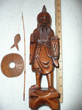 """CARVED WOOD 12"""" ASIAN FISHERMAN FIGURE STATUE"""