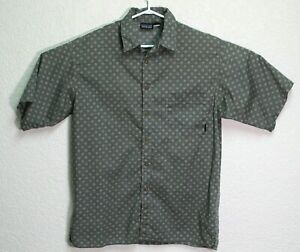 Patagonia-Mens-Gray-Organic-Cotton-Short-Sleeve-Button-Down-Shirt-Medium-EUC