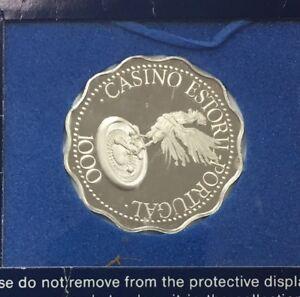 Franklin-Mint-Estoril-Sun-Coast-Portugal-Silver-Gaming-Coin-Token-1000-Euros