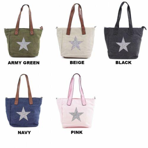 Ladies 8665 Canvas Style Fully Lined Crystal Encrusted Star Shoulder Grab Bag