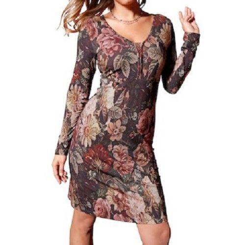 Jerseykleid Kleid Freizeitkleid Festkleid Viskose cream multicolor  40 42 44 46