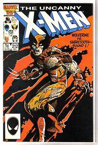 a21e05d205e Details about UNCANNY X-MEN #212 Wolverine vs Sabretooth: Round 1! Marvel  Comic Book ~ VF