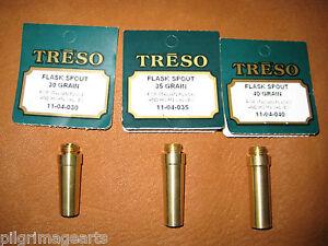 THREE-TRESO-solid-brass-flask-spout-Powder-Measure-30-35-40-Revolver-USA