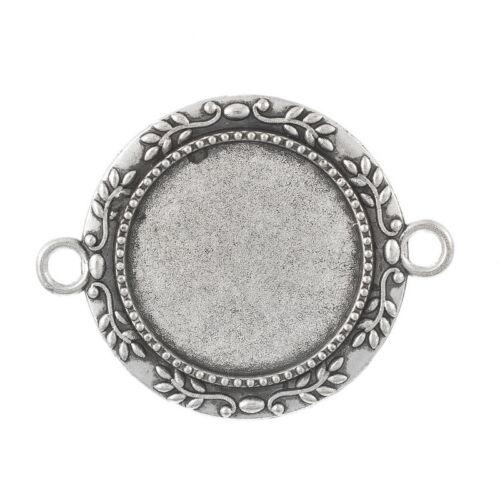 25 Antik Silber Charm Cabochons Kamee Klebestein Fassungen Anhänger 28x35mm
