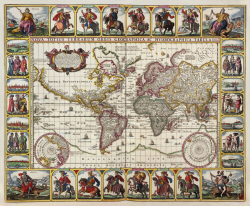 2 NEW Reproduction VINTAGE OLD COLOUR Color Maps Blaeu /& Visscher of the WORLD