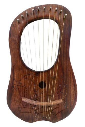 Hand made Engr Traditional Irish Lyre Harp 10 Metal String Carrying Bag /& Key