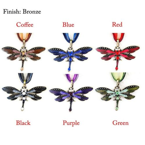 Gem tone Necklace Pro Rhinestone Inlay Dragonfly Pendant  With Chain Functional