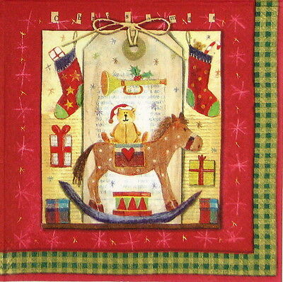 4x Paper Napkins for Decoupage Craft Christmas Rocking Horse