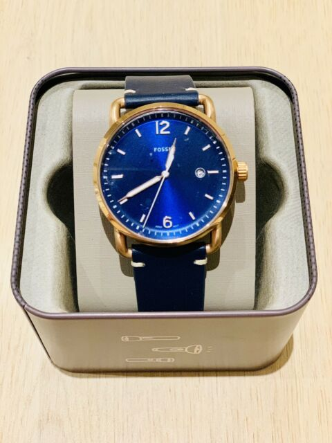 Fossil The Commuter Three-Hand Date Blue Leather Watch (FS5274)
