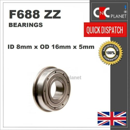 F688ZZ F 688 ZZ Metal Shielded Deep Groove Flanged Ball Bearing 8mm x 16mm x 5mm