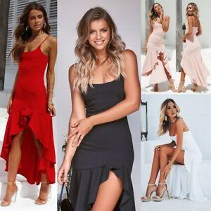 Women-039-s-Asymmetric-Frill-Sling-Ruffle-Dress-Bodycon-Slit-Mermaid-Dresses-UK-6-10