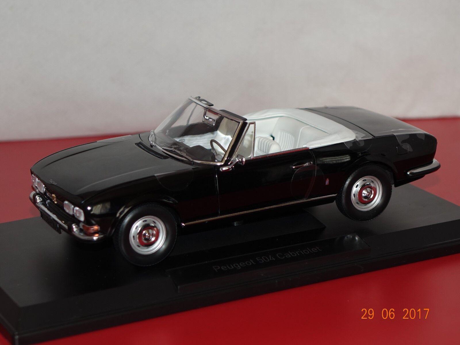 Peugeot 504 Cabriolet 1971 Noir. 1 18 Norev 184784 NOUVEAU & NEUF dans sa boîte