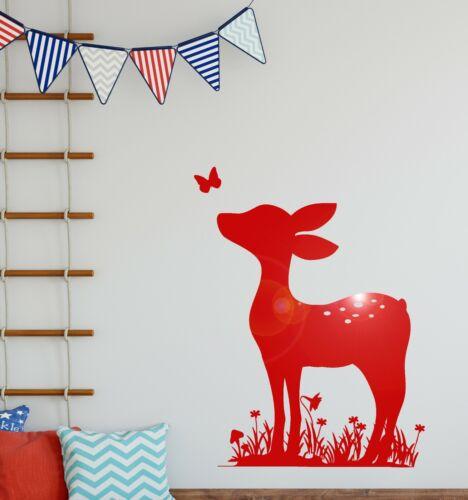 ig3696 Vinyl Wall Decal Fawn Deer Animal Nursery Baby Room Stickers