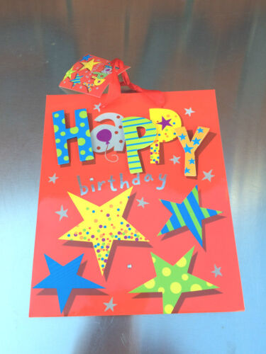 Red Happy Birthday Gift Bag Present Birthday Adult Children Kid Party Bags