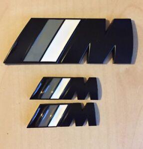 ///M Sport Small Emblem Black M Power Metal Set (2x Wings + 1x Boot Badge) BMW