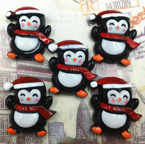 DIY 5//25//50//100pcs Christmas Penguin Flatback Resin Cabochon Scrapbooking//Crafts
