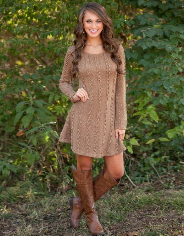 Dress women's dress dress dress long sleeve brown comfortable swing soft 3169 fed66b