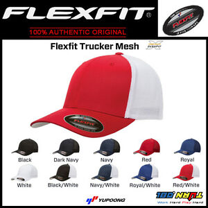 FLEXFIT TRUCKER MESH HAT Plain Blank Baseball Cap Curved Bill One ... 23a92490db4e