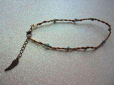 Handmade Real Braided Tan Leather Beaded Anklets (Send Me your Size)