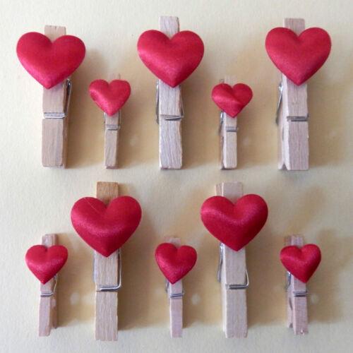 Deko Klammern mit Satinherzen Satin Herzen Herzklammern Aufhänger für Bilder
