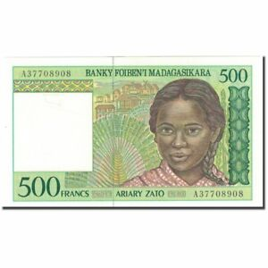 Madagascar #593995 Unc Banknote 500 Francs = 100 Ariary 65-70 Km:75a Intellective