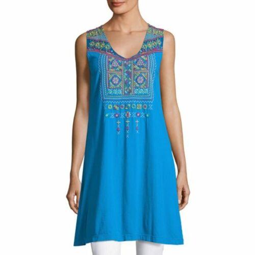 Johnny Was Size M Dita Yoke Blue Long Tunic Dress