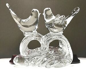 Vintage-Murano-Hand-Blown-Art-Glass-Love-Birds-On-A-Wave-Heavy-6-Figurine-MINT
