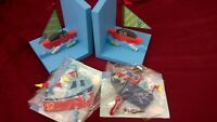 Children's Wooden Boat book Ends Bookends and Two Matching Hooks New