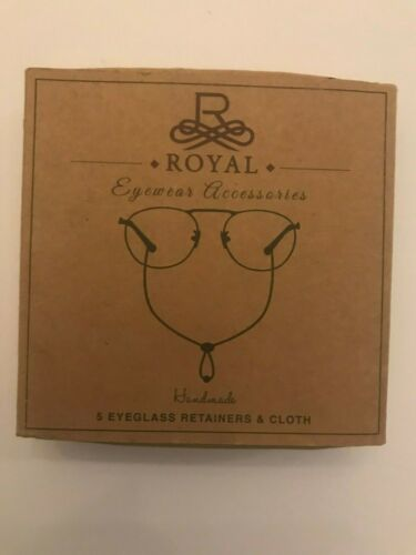 Royal eyewear handmade leather accessories 5 eyeglass retainers and cloth