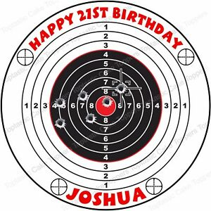 Image Is Loading Personalised Target Shooting Range Edible Icing Birthday Party