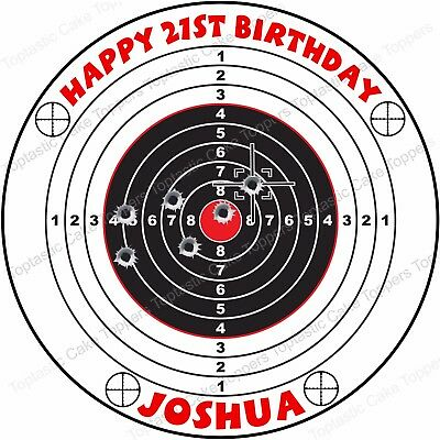 Surprising Personalised Target Shooting Range Edible Icing Birthday Party Personalised Birthday Cards Beptaeletsinfo