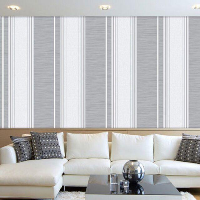 CROWN MANHATTAN GREY WHITE STRIPE LUXURY FEATURE DESIGNER VINYL WALLPAPER M0907