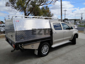 Details about Dual Cab Aluminium Canopy Toolbox 1780x1800x850mm + Roof Rack  + UnderTray