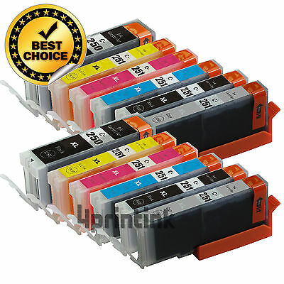 12 Pk PGI-250XL CLI-251XL Gray Ink Cartridge For Canon Pixma MG7120 MG6320 +Chip
