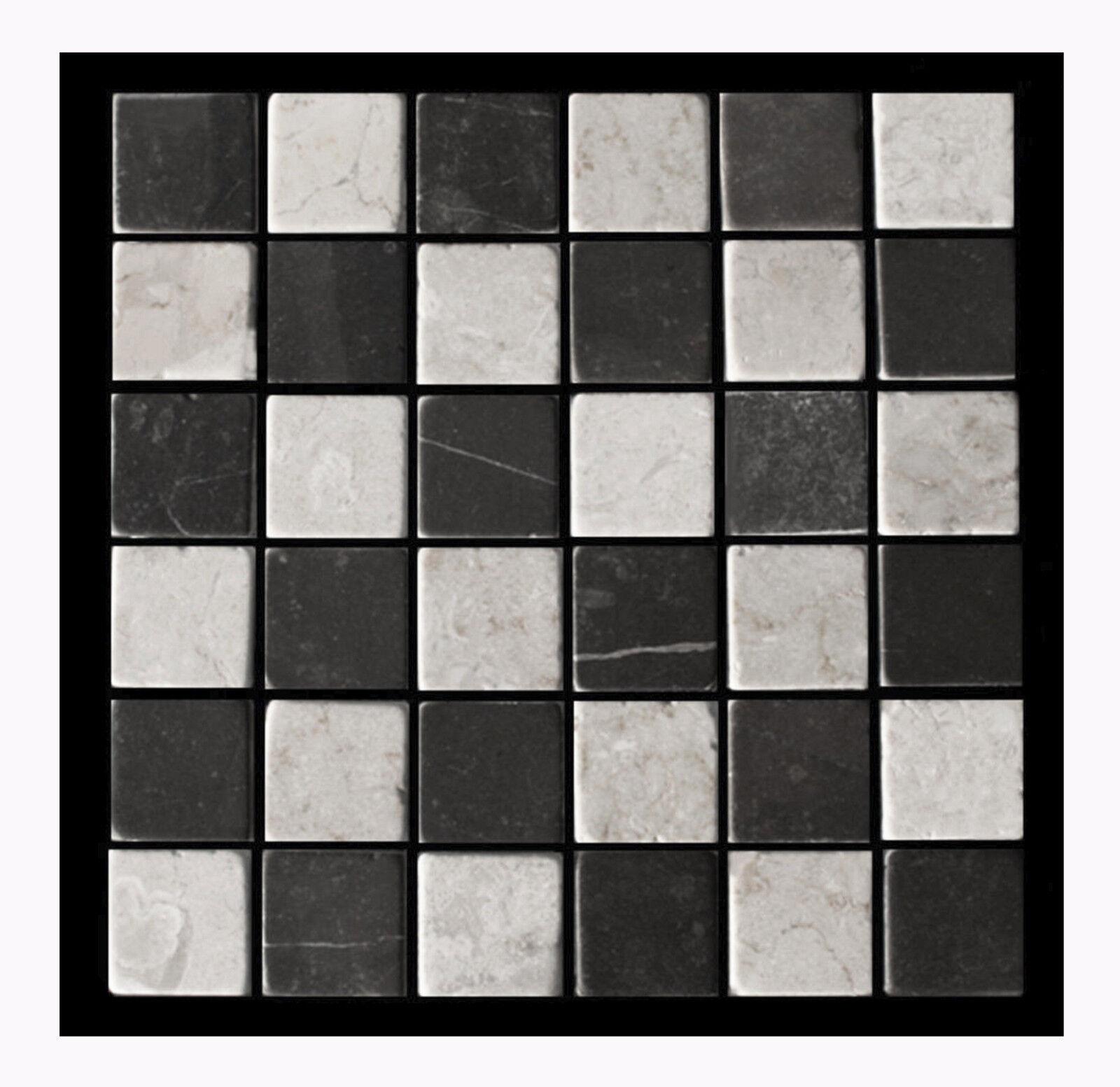 1 qm PA-806 Marmor Mosaikfliesen getrommelt - Fliesen Lager Stein-mosaik Herne -