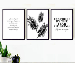 Details About Set 3 Prints Home Decor Palms Motivational Quotes Wall Art Gift