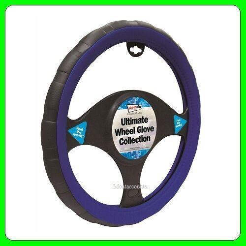 swwg5 se adapta 37-38 Cm De Diámetro Negro Y Azul Cuero cubierta del volante