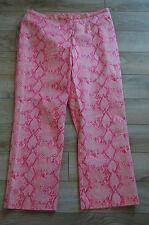 12 JADE MELODY TAM MAGENTA PINK BEADED SNAKESKIN PRINT CROP CAPRI DRESS PANTS