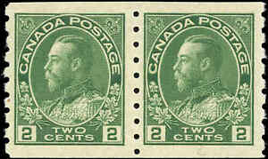 1922-Mint-NH-Canada-Pair-2c-F-VF-Scott-128-Admiral-KGV-Coil-Stamps